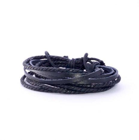 Bracelet cuir et cordes noir
