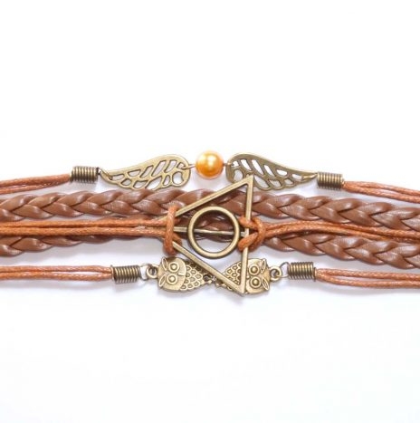 Bracelet cuir et cordes hiboux marron