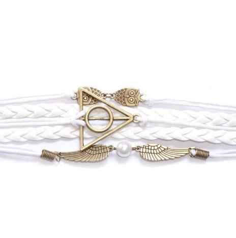 Bracelet cuir et cordes hiboux blanc