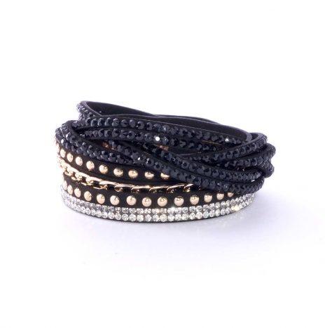 Bracelet cuir strass noir