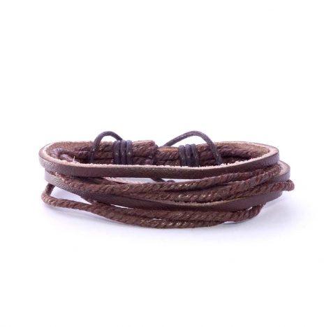 Bracelet cuir et cordes marron